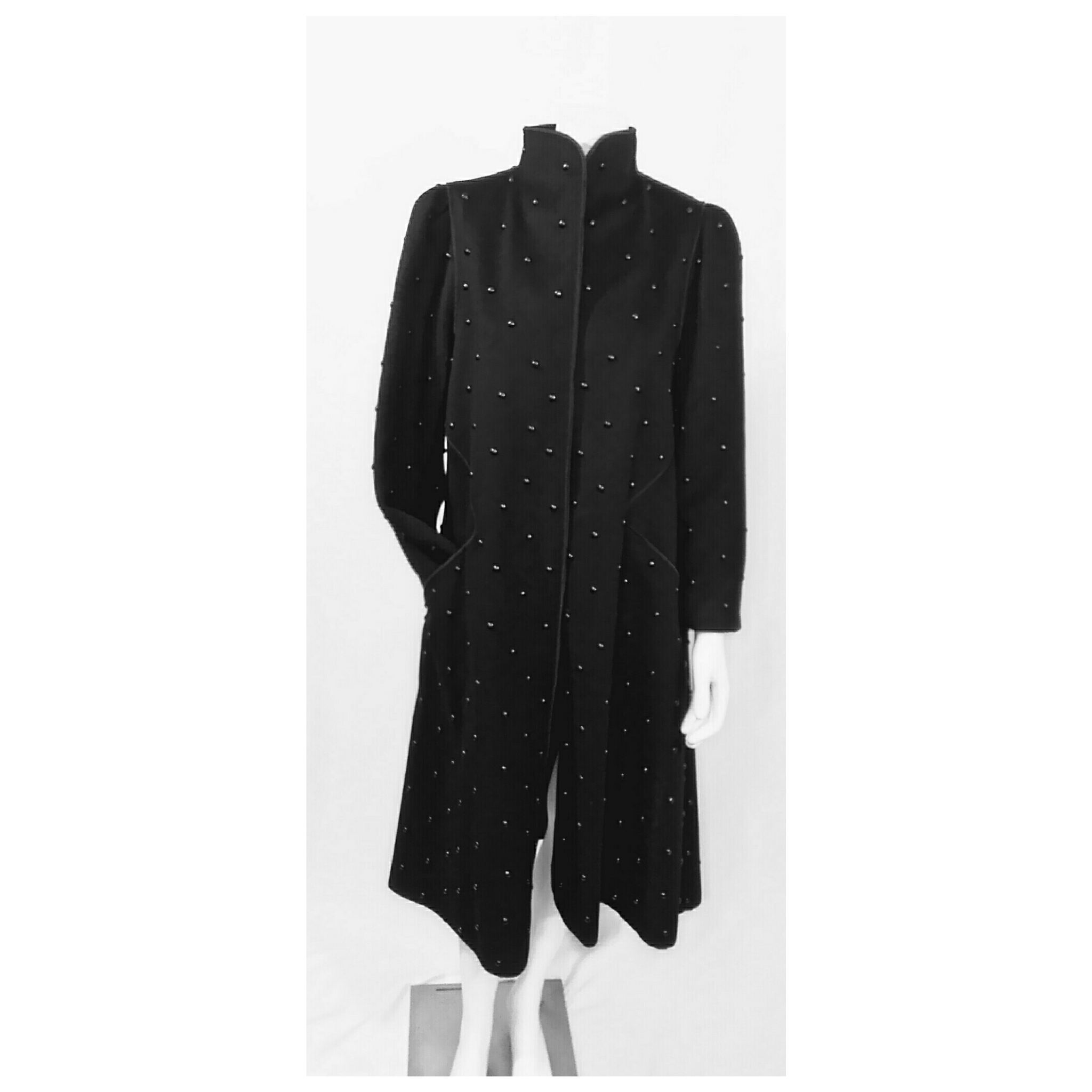 4f39b556134 Vintage 1970's Rare Mrs. H. Winter Beaded Embellished Black Wool Coat with  Matching Suede Scarf; Black Wool Embellished Coat; Harriet Winter